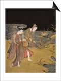 A Young Couple Catching Fireflies at Night on the Banks of a River Posters by Suzuki Harunobu