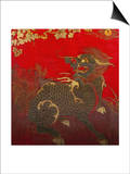 A Large Chinese Red Lacquered Wood Rectangular Panel Depicting a Seated Kylin with Head Turned to… Posters