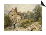 Fowl House Farm, Witley, with Children, a Shepherd and a Flock of Sheep Nearby Pósters por Foster, Myles Birket