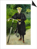 An Elegant Lady with a Bicycle Prints by Paul Fischer
