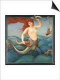 A Sea-Nymph Print by Edward Burne-Jones
