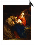 The Holy Family with St. Francis Print by Jacob Van Oost