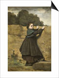 Curious Little Girl Poster by Jean-Baptiste-Camille Corot
