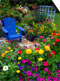Backyard Flower Garden With Chair Prints by Darrell Gulin