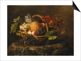 A Pineapple, Grapes, Peaches and Apricots in a Basket Poster by Johan Laurentz Jensen