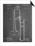 Slide Trombone Instrument Patent Posters