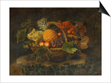 A Basket of Grapes, Peaches and a Pineapple on a Rock in a Landscape Posters by Alfrida Vilhelmine Ludovica Baadsgaard