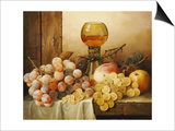Grapes, Apple, Plums and Peach with Hock Glass on Draped Ledge Kunstdrucke von Edward Ladell
