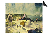 The Beach, Newport Print by George Wesley Bellows