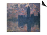 Parliament, Sunset, 1902 Art by Claude Monet