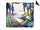 A River Meandering from a Distant Mountain Range at Dusk, with Cypress, Lilies, Poppies and Irises Print by  Tiffany Studios