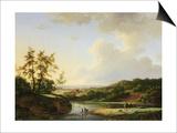 An Extensive Landscape with Figures and Cattle by a River, a Town Beyond, 1845 Prints by Marinus Adrianus Koekkoek