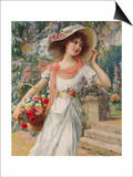 The Flower Girl. Early 20th Century Prints by Emile Vernon