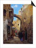 Streetscene in Jerusalem; Strassenscene in Jerusalem Posters by Gustav Bauernfeind
