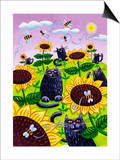 Black Cats Watching Honeybees on Sunflowers Prints by Lisa Berkshire