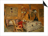 Denise Natanson and Marcelle Aron at the Summer House, Villerville, Normandie Affiches par Edouard Vuillard