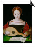 Mary Magdalene Playing a Lute Prints by  Master of the Female Half Lengths