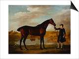 The Duke of Marlborough's () Bay Hunter, with a Groom in Livery in a Lake Landscape Posters by George Stubbs