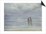 Boys Bathing on Boys Bathing on the Beach at Skagen Print by Peder Severin Kröyer