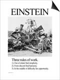 Einstein; Three Rules of Work Posters by Wilbur Pierce