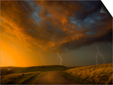 Thunderstorm and Orange Clouds at Sunset Prints by Jonathan Hicks