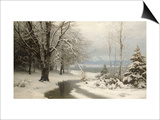 A Wooded Winter Landscape with a Stream and a Lake Beyond Prints by Anders Anderson-lundby