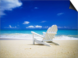 Beach Chair on Empty Beach Print by Randy Faris