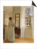 A Lady Looking in a Mirror by an Open Door Affischer av Carl Holsoe