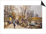 The Rive Gauche, Paris with Notre Dame beyond Poster by Eugene Galien-Laloue