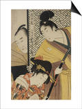 Act II of Chushingura, the Young Samurai Rikiya, with Konami, Honzo Partly Hidden Behind the Door Prints by Kitagawa Utamaro