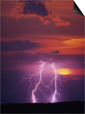 Lightning Storm at Sunset Poster by Jim Zuckerman
