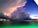 Lighting striking over green and blue water Prints by Richard Broadwell
