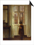 A Girl Standing at a Window Prints by Carl Holsoe