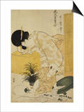 A Mother Dozing While Her Child Topples a Fish Bowl Print by Kitagawa Utamaro