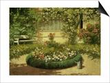 A Sunlit Flower Garden Poster by Laszlo Neogrady