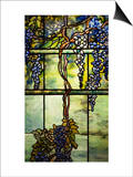 Detail from a Fine Leaded Glass Triptych Window (Wisteria) Poster