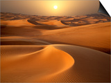 Intense Sun over sand dunes around Dubai Prints by Jon Bower