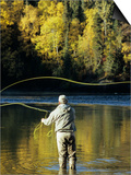 Flyfisherman and Fall Reflections, Bulkley River,Smithers, British Columbia, Canada. Prints by Keith Douglas
