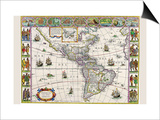 New Map of the Americas Prints by Willem Janszoon Blaeu
