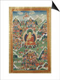 A Tibetan Thang.ka, Buddha Shakyamuni Surrounded by Many Scenes from His Previous Lives, 18th C Posters