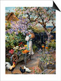 An English Cottage Garden Print by William Stephen Coleman