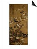 Birds in Flight and Perched on Blossoming Magnolia Branches Poster