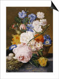 Roses, Morning Glory, Narcissi, Aster and Other Flowers in a Basket with Eggs in a Nest, 1744 Poster von Dec Van Huysum