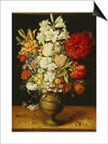 Lilies, Peonies, Tulips, Roses, Anemones and Other Flowers Poster by Osias Beert