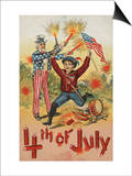 4th of July with Firecrackers Poster