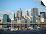 Skyline of New York City with East River, Manhattan and Brooklyn Bridge Prints by Alan Schein