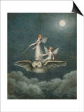Two Fairies Standing on the Back of an Owl Beneath a Moon Print van Amelia Jane Murray