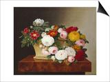 Still Life of Roses in a Basket on a Ledge Art by Johan Laurentz Jensen