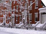 Brownstones in Blizzard Art by Rudy Sulgan