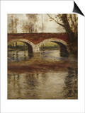 A River Landscape with a Bridge Art by Fritz Thaulow